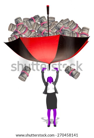 Money falling from umbrella onto girl. - stock photo