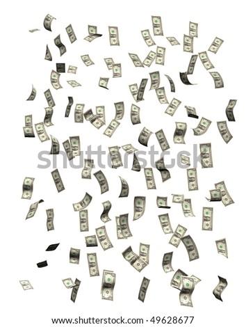 Money falling, isolated on white background - stock photo
