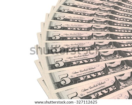 Money fan. Five dollars. 3D illustration. - stock photo