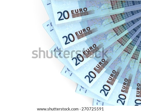 Money fan. Twenty euros. 3D illustration. - stock photo