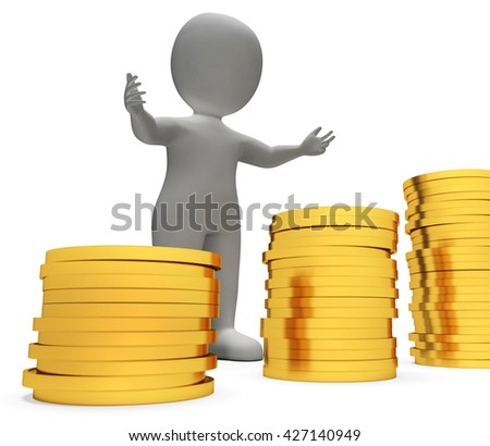 Money Finance Representing Prosperity Saver And Earn 3d Rendering - stock photo