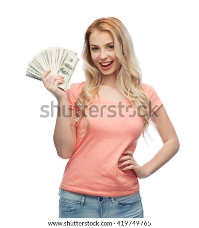 money, finances, investment, saving and people concept - happy young woman with dollar cash money - stock photo