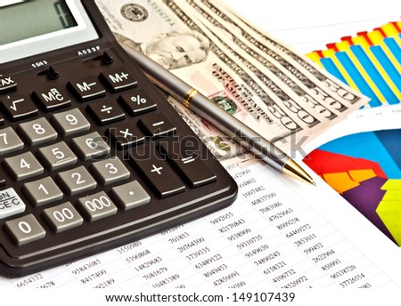 Money, financial graphs, and other business stuff  - stock photo