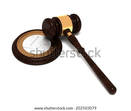 Money Fine, Euro Fine , Judge's Hammer , Gavel with one coin euro - stock photo