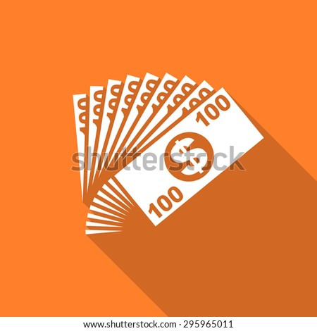 money flat design modern icon with long shadow for web and mobile app  - stock photo