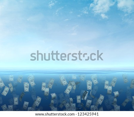 Money floating  in the sea - stock photo