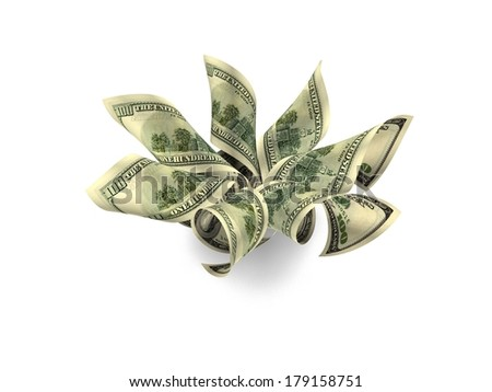 Money Flower. One Hundred Dollar Notes ($100) Blossoming Into A Beautiful Arrangement Of High Denomination Petals. Seven Petals Over White Background With Slight Shadowing. - stock photo