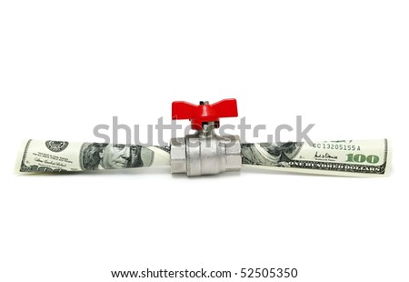 Money flowing isolated on white