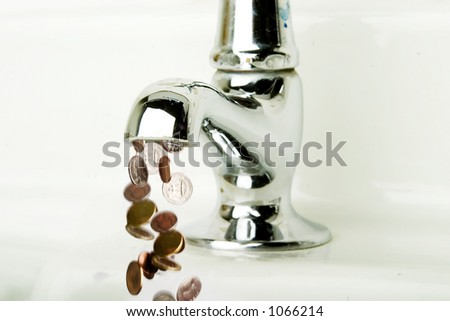 Money flowing out of a retro bathroom tap.