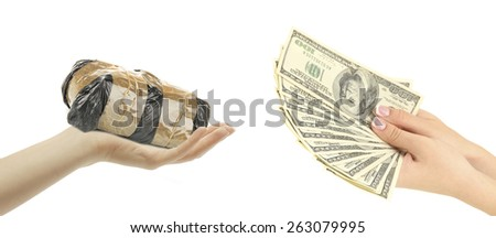 Money For Drugs. Drug dealer and addict trading - stock photo