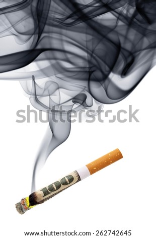 Money for smoke - cigarette stub with smoke isolated over the white background - stock photo