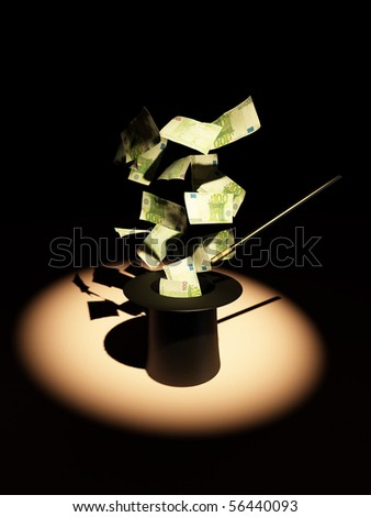 Money from nowhere. magic. 3d - stock photo