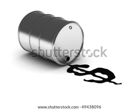 Money from oil. Drum with spilled oil isolated on white background. High quality 3d render. - stock photo