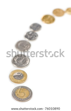 Money gain idea of polish zloty coins lying in a row on white background, five zloty first, next two and rest blurred behind, vertical orientation, nobody.
