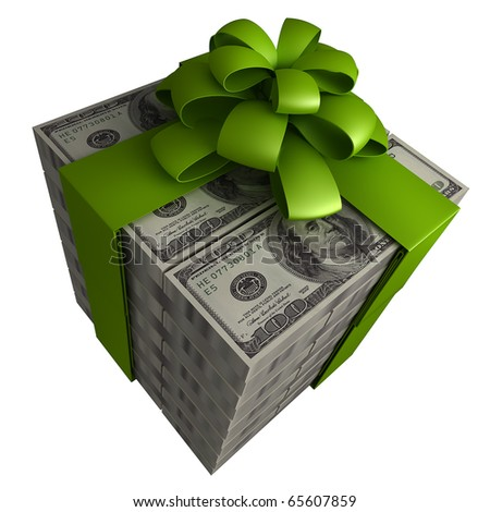 Money gift box with green ribbon isolated on a white background 3d - stock photo