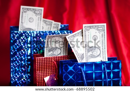 Money gift on red background - stock photo