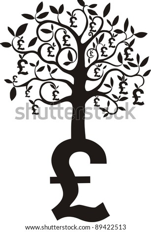 money growing on trees, pounds isolated on White background. illustration - stock photo