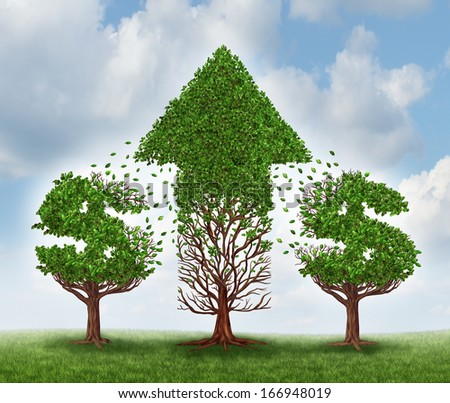 Money growth concept and investing in new business opportunities as two trees shaped as dollar signs transferring their leaves to another plant that represents an upward arrow of wealth and success. - stock photo