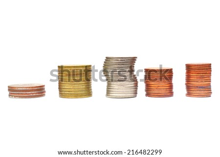 Money growth concept with coins and seedling  isolated on white background