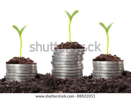 Money growth. Silver coins in soil with young plant. Financial metaphor. - stock photo