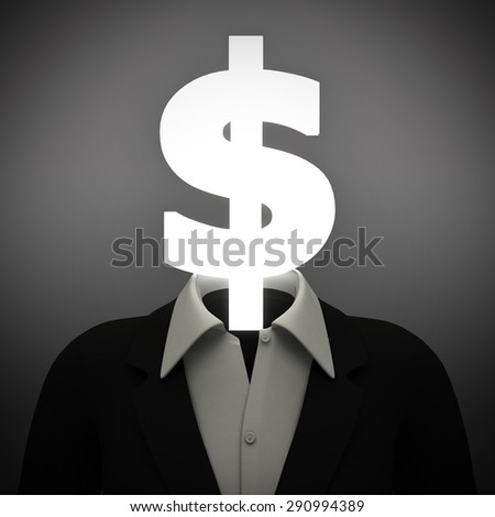 Money head. A person has a head that is a dollar sign, representing thoughts of money. - stock photo