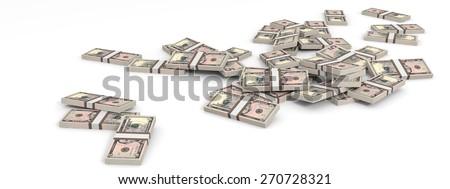 Money heap on white background. Five dollars. 3D illustration. - stock photo