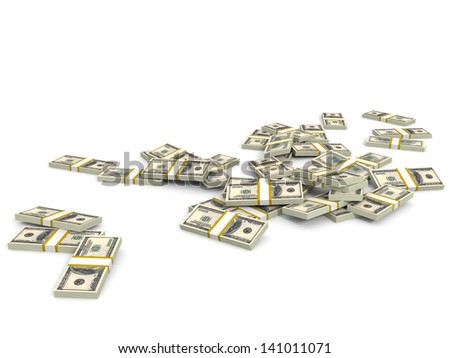 Money heap on white background. One hundred dollars. 3D illustration.