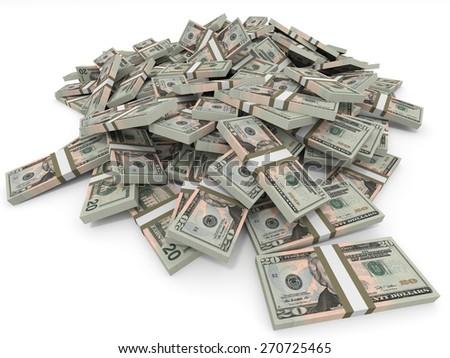 Money heap on white background. Twenty dollars. 3D illustration. - stock photo