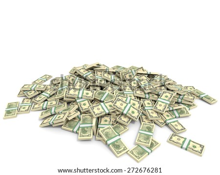 Money heap on white background. Two dollars. 3D illustration.