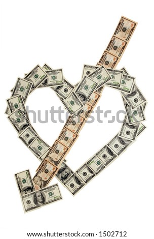 Money heart and arrow on white background