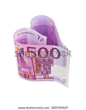 Money heart isolated on white background - stock photo
