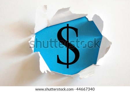 money hole in white paper with blue background