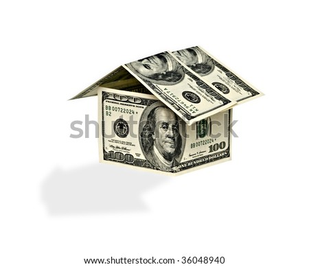 Money home isolated on white background