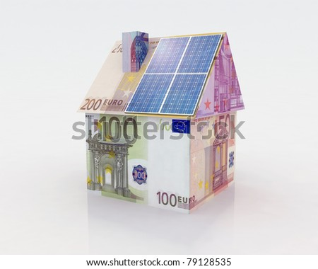 money home with solar panel concept financing - stock photo