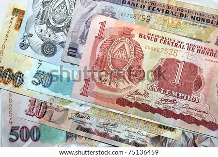 money honduran lempira notes pile of different denominations, honduras, central america. full frame close up macro foreign currency exotic tropical latina country banknote - stock photo