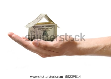 money house in the hand - stock photo