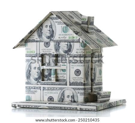 Money house isolated on white - stock photo