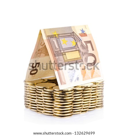 Money house with coin isolated over white background.