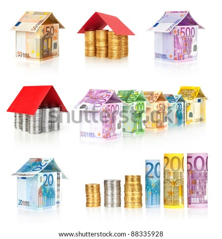 money houses and roll diagram collection isolated on white - stock photo