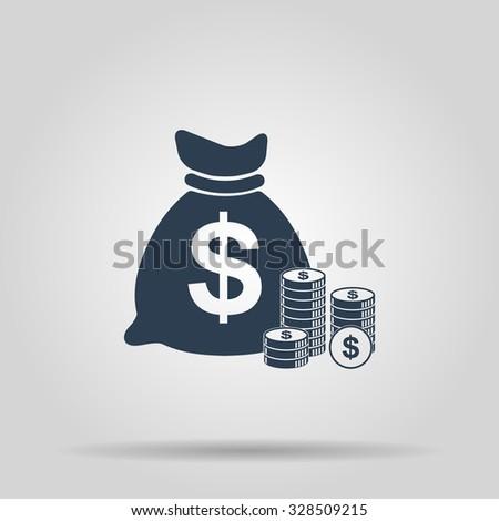 money icon. Flat design style  - stock photo