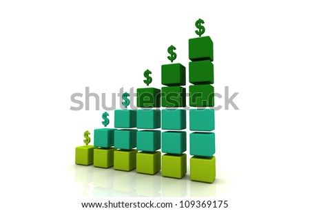 Money Icon Graph Block - stock photo
