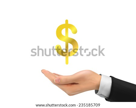 money icon holding by realistic hand over white background