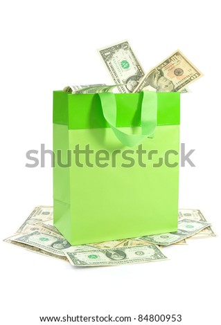 Money in a bag - stock photo