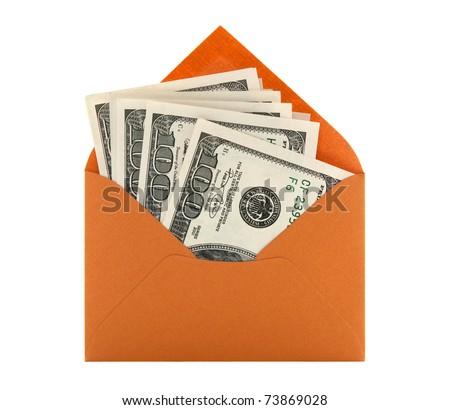Money in a bright orange envelope, isolated on white background. - stock photo