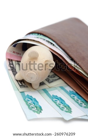 Money in a brown wallet and piggy - stock photo