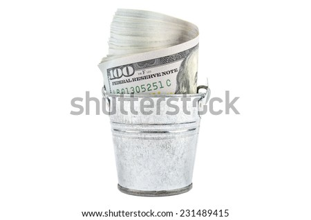 Money in a bucket - stock photo
