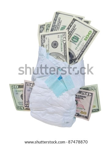 Money in a diaper displaying the cost of the care of a baby - path included - stock photo