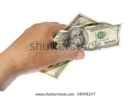 Money in a hand on a white background. (isolated) - stock photo