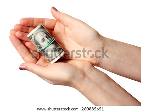 Money in a hand on the white background. (isolated)