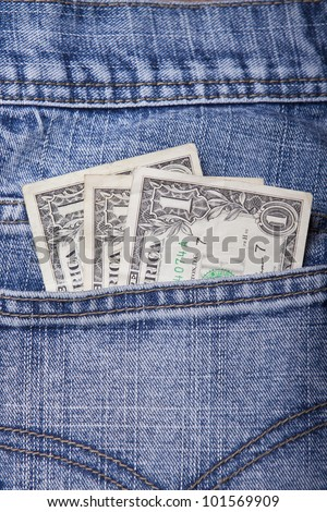 Money in a Jeans Pocket - stock photo